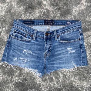 Medium Wash Distressed Denim Shorts